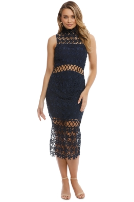 Keepsake The Label - Stay Close Lace Dress - Navy - Front