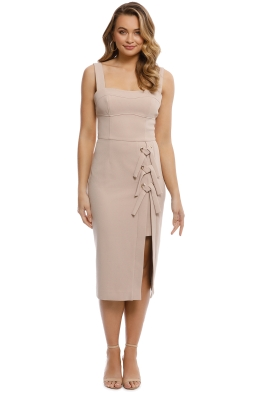 Rebecca Vallance - Celestina Tie Dress - Nude - Front