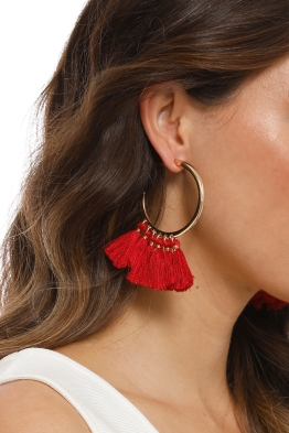Adorne - Cassidy Statement Tassel Earrings - Red - Product