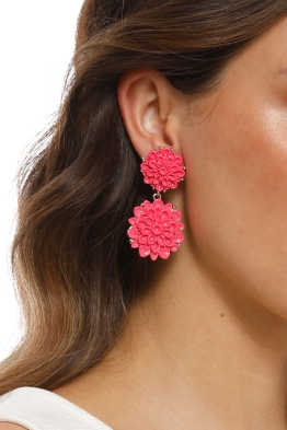 Adorne - Double Flowers Stud Earrings - Pink Rose - Product