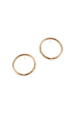 Adorne - Medium Front Hoop Stud Earring - Gold - Side