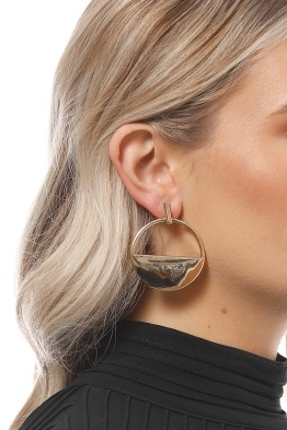 Adorne - Polished Metal Half Circle Drop Earring - Gold - Product