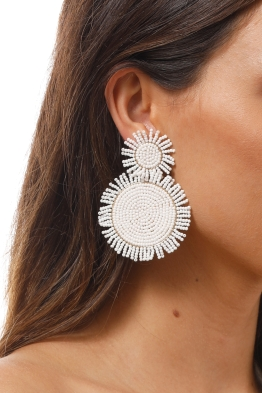 Adorne - Seed Bead Disc and Fringe Edge Drop Earring - White - Product Image