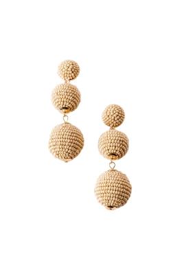 Adorne - Trio Beaded Balls Earrings - Camel - Front