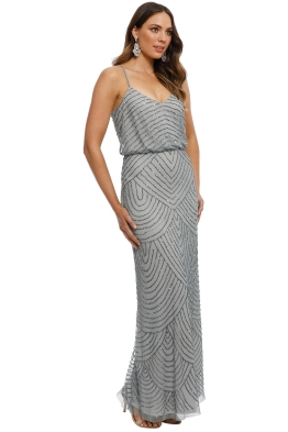c37660f71b Adrianna Papell - Art Deco Beaded Gown - Dusty Blue - Front