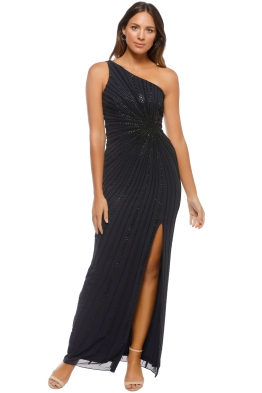 Adrianna Papell - One Shoulder Long Dress - Navy - Front