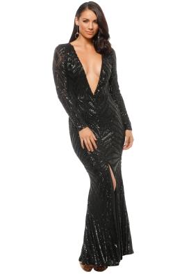 Ae'lkemi - Art Deco Sequin Gown - Black - Front