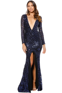 Ae'lkemi - Art Deco Sequin Gown - Navy - Front