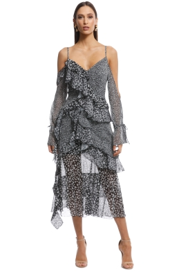 ecf941d1e450 Asilio - Animale Print Ruffle Dress - Black White - Front