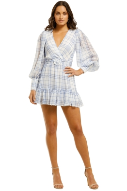 Bec+Bridge-Alexa-LS-Mini-Dress-Blue-Check-Front