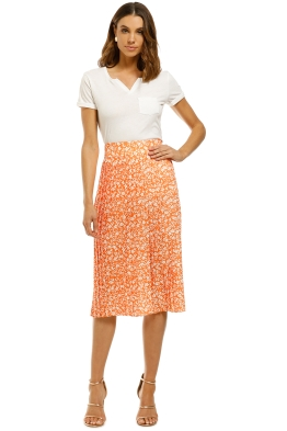 By-Johnny-Floral-Pleated-Midi-Skirt-Orange-White-Front