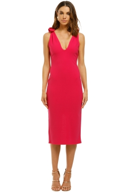 By-Johnny-V-Neck-Bow-Shoulder-Dress-Pink-Front