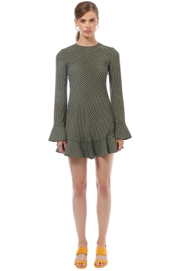 By Johnny - Issy Flute Mini Dress - Green Polka - Front