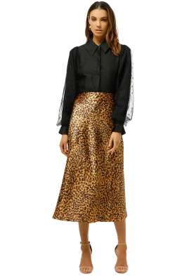 C/MEO-Collective-Polarised-Skirt-Mustard-Painted-Spot-Front