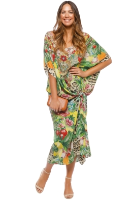 Camilla - Cool Cat Round Neck Kaftan - Prints - Front