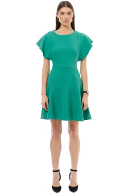 Closet London - Frill Sleeve Flared Dress - Green - Front