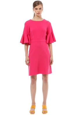 Closet London - Tie Back Ruffle Dress - Pink - Front