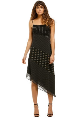 CMEO-Collective-Palatial-Midi-Dress-Black-Spliced-Paisley-Front