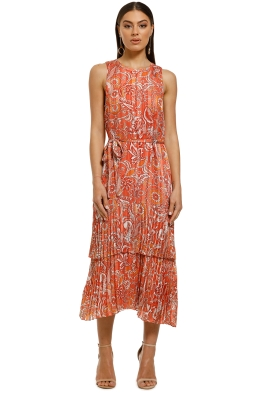 Cooper-St-Stevie-Pleated-Midi-Dress-Paisley-Print-Front