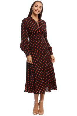 Cooper St - Flashdance Long Sleeve Maxi Dress - Red Polkadot - Front