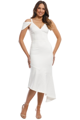 Cooper St - Jasmine Asymmetric Midi Dress - White - Front