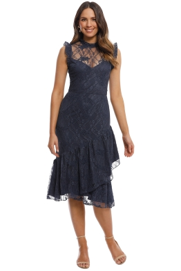 Cooper St - Peppermint Lace High Neck Dress - French Navy - Front