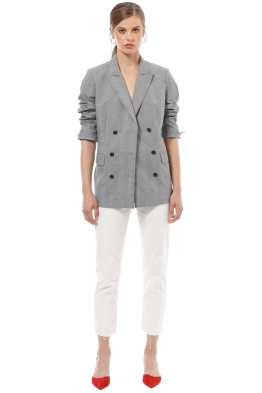Country Road - Check Double Blazer - Grey - Front