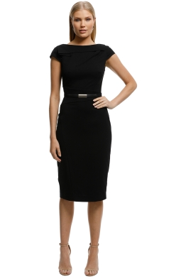 CUE-Draped-Pencil-Dress-Black-Front
