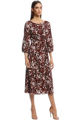 123319cf2521 Cue - Abstract Leopard Boat Neck Dress - Burgundy - Front