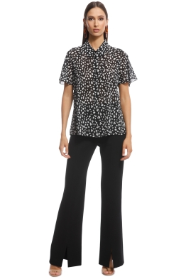 Cue - Animal Georgette Flared Sleeve Shirt - Black and White - Front