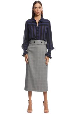 Cue - Bold Stripe Crinkle Georgette Shirt - Blue - Front