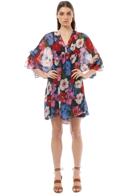 Cue - Bright Poppy Georgette Dress - Print - Front