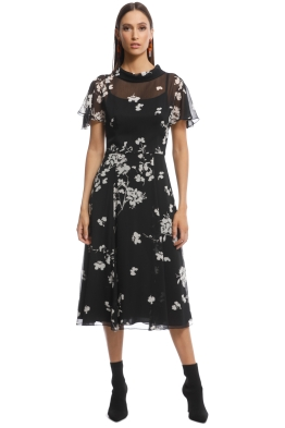 Cue - Cherry Blossom Georgette Midi Dress - Black - front