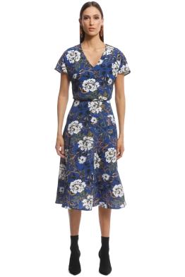 Cue - Floral Crepe Midi Dress - Blue - Front