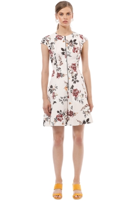 Cue - Floral Ottoman Zip Front Dress - Cream Floral - Front