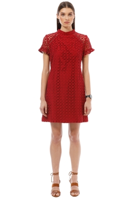 Cue - Lace Shift Dress - Red - Front