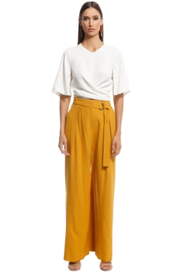 Cue - Mustard Wide Leg Pant - Yellow - Front