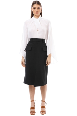 Cue - Split Front A-Line Skirt - Black - Front