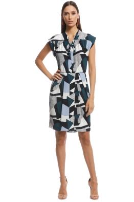 Cue - Textured Geo Spot Dress - Multi - Front