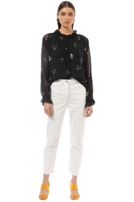 Cynthia Rowley - High Tide Smocked Ruffle Neck Top - Print - Front