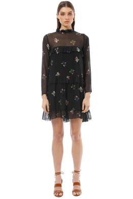 Cynthia Rowley - High Tide Tiered Ruffle Knee Length Dress - Black - Front