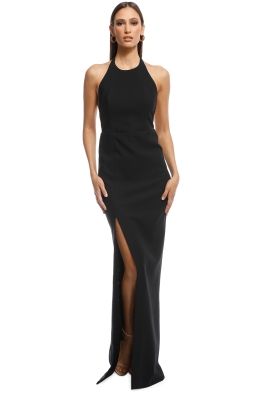 Elizabeth and James - Ventus Halter Neck Twill Gown - Black - Front
