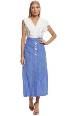 Ellery - Aggie A-Line Skirt - Blue - Front