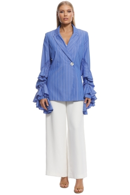 Ellery - Living My Life Ruffle Jacket - Blue - Front