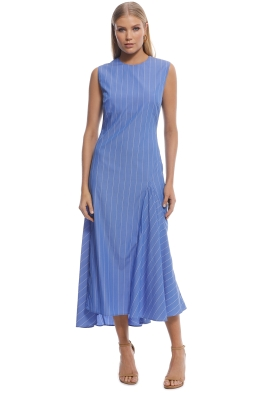 Ellery - Nightwood Godet Midi Dress - Blue Stripes - front