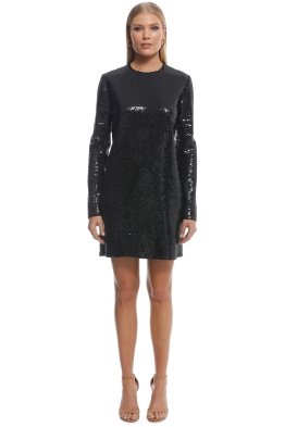 02420442 Ellery - Sequin LS Mini Dress - Black - Front