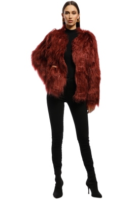 Everly - Marmont Faux Fur Jacket - Wine - Front