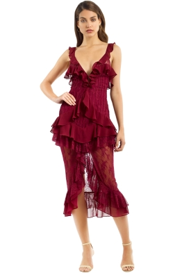 For Love and Lemons - Daphne Lace Midi Dress - Bordeaux - Front