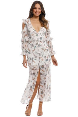 For Love and Lemons - Elyse Ruffled Maxi Dress - Ivory Print - Front