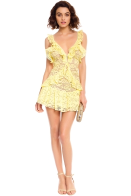 For Love and Lemons - Tati Lace Ruffle Dress - Lemon - Front